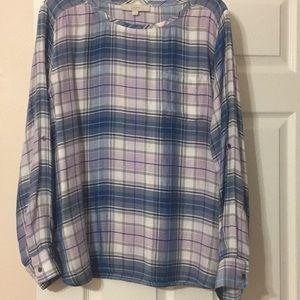 Loft plaid long sleeve blouse
